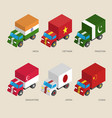 Set of isometric cargo trucks with flags