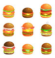 set of tasty burger grilled beef and fresh vector image