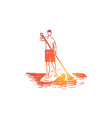 sport water paddle stand sup concept vector image