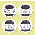Stickers with freehand drawn burgers and hand vector image