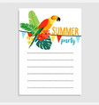 summer birthday party greeting card invitation vector image vector image