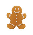 sweet gingerbread man christmas cookie vector image