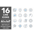 thin icon set with machine learning smart robotic vector image vector image