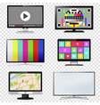 tv and computer monitor screen set on transparent vector image vector image