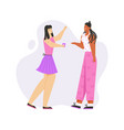 two young girls talking drinking coffee vector image vector image