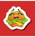 Upset Burger Sandwich Cute Emoji Sticker On Red vector image vector image