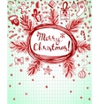 Winter holidays ink doodles on lined background vector image
