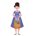 woman holding baskets of fruits and vegetable vector image