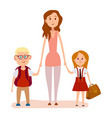 young mother holding two school children art icon vector image