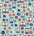 Seamless pattern with social media equipment vector image
