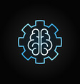 ai brain in gear blue outline icon on dark vector image vector image