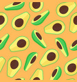 avocado fruit seamless pattern in flat style vector image