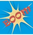 Boom explosion text description in the style of vector image