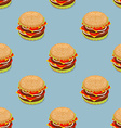 Burger pattern Sandwich of patties and cut roll vector image