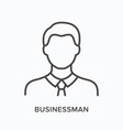 businessman flat line icon outline vector image