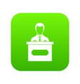businessman giving presentation icon digital green vector image vector image