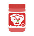 cherry jam in glass jarmade in cartoon flat style vector image vector image