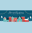 christmas holiday night city winter greeting card vector image