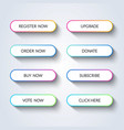 colorful call to action buttons set with gradient vector image vector image