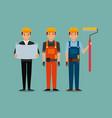 construction workers egineer foreman blueprint and vector image vector image