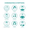 coronavirus symptoms set icons vector image vector image