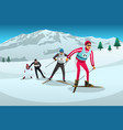 cross country skiing athletes competing vector image vector image