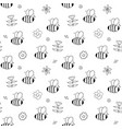cute bee seamless pattern cartoon hand drawn vector image