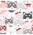 cute siberian husky dog seamless pattern vector image