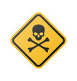 danger warning sign with skull and crossbones vector image