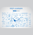 deep learning concept with business doodle design vector image vector image