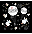 Festive balloons and snowmen vector image vector image