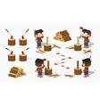 Firewood chopping by lumberjack vector image