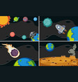 four background scenes with planets in space vector image vector image