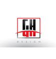 gh g h logo letters with red and black colors and vector image vector image