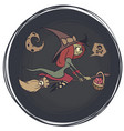 halloween cute witch flying on her broom on a vector image vector image