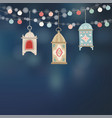 hanging hand drawn arab lanterns strings of vector image vector image