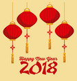 happy new year 2018 chinese calendar card with vector image vector image