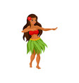 hawaiian girl in grass skirt dancing and hibiscus vector image