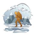 hiker man walking through grasslands with high vector image