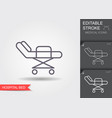 hospital bed line icon with editable stroke vector image