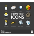 Isometric outline icons set 60 vector image vector image