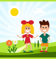 kids on meadow landscape with boy and girl vector image vector image