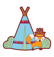 line color fox animal with camp design and bushes vector image vector image