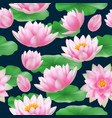 lotus seamless pattern colored tropical nature vector image