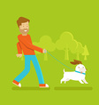 Man with a dog vector image vector image