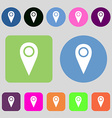 Map pointer icon sign 12 colored buttons Flat vector image