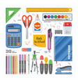 office supply stationery school tools icons vector image