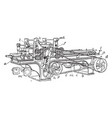 planing machine vintage vector image vector image