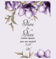 purple flowers card watercolor wedding vector image vector image