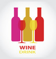 red and white wine bottlesand glass design drink vector image vector image